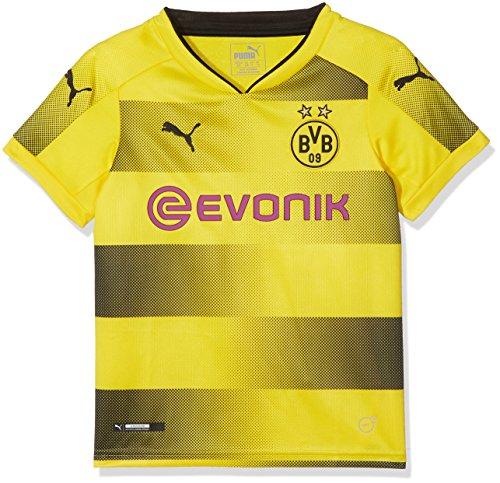 PUMA Kinder BVB Kids Home Replica Shirt with Sponsor Logo Fußball T, Cyber Yellow Black, 176