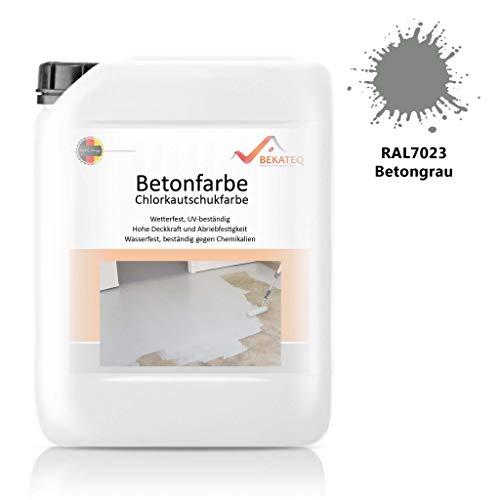 Bekateq LS-470 Bodenfarbe, seidenmatt RAL7023 Betongrau 2,5l, 1K Betonfarbe zur Beschichtung und Versiegelung von Beton, Mauerwerk, Stein, Putz