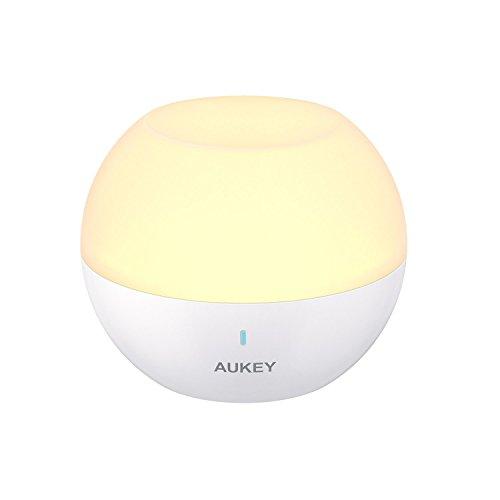 AUKEY Nachttischlampe, Wiederaufladbares Nachtlicht mit RGB-Farbwechsel & Dimmbares Weißlicht, IP65 Wasserdicht & Sturzfest, Touch-Bedienung Tischlampe zum Lesen, Schlafen und Entspannen