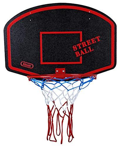 Basketballboard ABA Basketballkorb mit Netz Basketball Backboard für Kinder Basketballbrett inklusive Korb und Netz Basketballring Indoor (Streetball Rot)