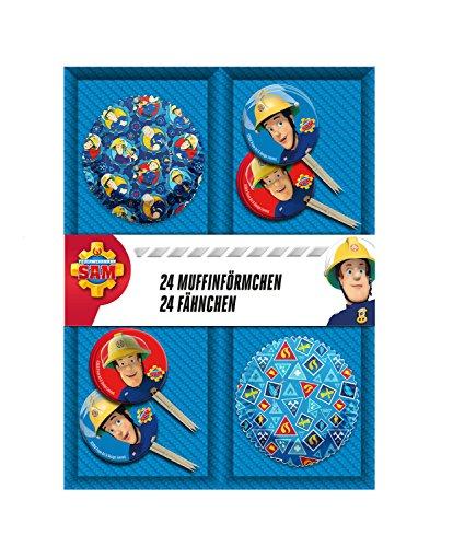 POS 27198 - Muffinset bestehend aus 24 Muffinförmchen und 24 Fähnchen mit Feuerwehrmann Sam Motiv, 2 fach sortiert, ideal zum Backen köstlicher Muffins