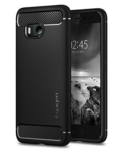 Spigen HTC U11 Hülle, [Rugged Armor] Karbon Look [Schwarz] Elastisch Stylisch Soft Flex TPU Silikon Handyhülle Schutz vor Stürzen und Stößen Schutzhülle für HTC U11 Case Cover Black (H11CS21938)