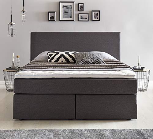 Furniture for Friends Möbelfreude® Boxspringbett Benno | 140x200 cm Anthrazit H2 | mit hochwertiger Bonell Federkernmatratze, Komfortschaum-Topper