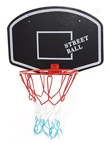 ABA Basketballboard Basketballkorb mit Netz Basketball Backboard für Kinder Basketballbrett inklusive Korb und Netz Basketballring Indoor (Street Ball weiß)