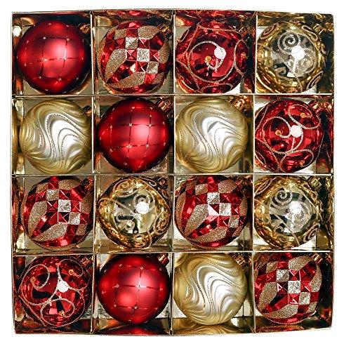 Valery Madelyn 16 Stücke 8CM Weihnachtskugeln Kunststoff Luxus Rot und Gold Thema Christbaumkugeln Set mit Aufhänger Weihnachtsbaumschmuck für Weihnachten Dekoration
