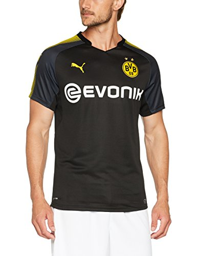 Puma Herren BVB Away Replica Shirt with Sponsor Logo T-Shirt, Black-Cyber Yellow, L