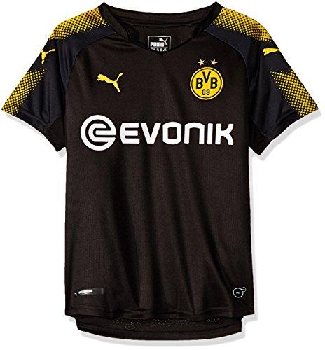 PUMA Jungen BVB Kids Away Replica Shirt with Sponsor Logo T Black-Cyber Yellow, 176