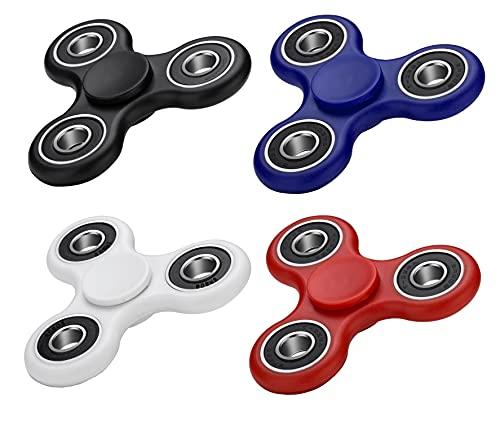 VAPIAO 4er Set Fidget Spinner Hand Spielzeug Special Hochleistungs Kugellager Anti Stress Kreisel in Blau, Rot, Weiß und Schwarz