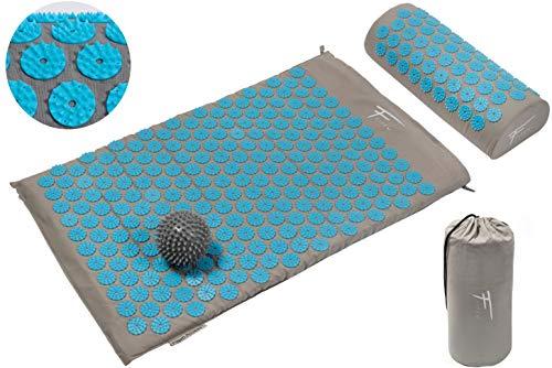 Akupressur-Set FITEM - Akupressurmatte + Akupressurkissen + Tasche + MassageBall - zur Linderung von Schmerzen in Rücken und Nacken - Ischias -Rückenmassage + Muskelentspannung + Akupunktur