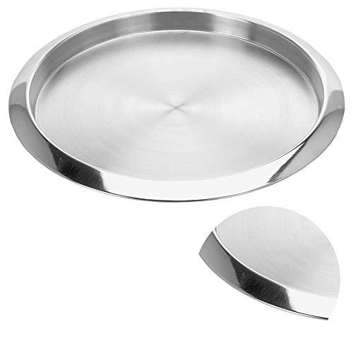 DRULINE Dekotablett Dekoteller Tablett Rund Serviertablett zur Dekoration aus Edelstahl | L x B x H 35 x 35 x 2.5 cm | Silber