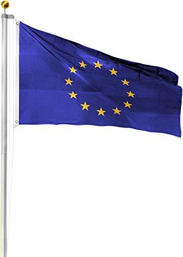 normani Aluminium Fahnenmast inkl. Deutschland Fahne + Bodenhülse + Zugseil - in verschiedenen Höhen wählbar Farbe Europa Größe 7.50 Meter