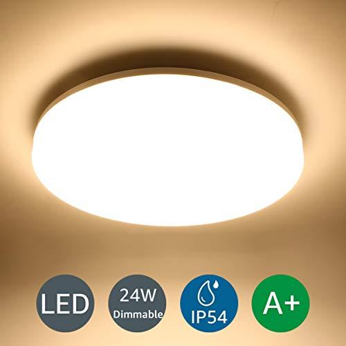 LE 24W LED deckenleuchte dimmbar,deckenlampe Bad,badlampe,IP54 Wasserfest,ideal für Wohnzimmer,Schlafzimmer,Badezimmer,Kinderzimmer,Küche,Büro,Balkon,Flur Warmweiß rund flach 3000K 2100lm Ø33cm