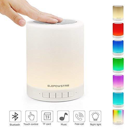 Nachttischlampe mit Bluetooth Lautsprecher, ELEPOWSTAR LED Nachtlampe Stimmungslicht mit Dimmer und Touch Sensor, 3 Heilligkeiten mit 7 Farbwechsel, Haken Design für Camping, Romantische Geschenke