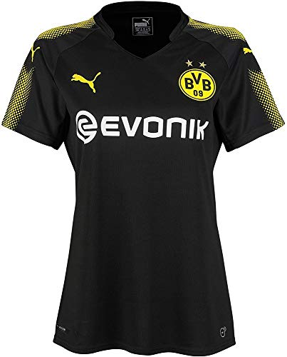 PUMA Damen BVB WMS Away Replica Shirt with Sponsor Logo T Black-Cyber Yellow, S