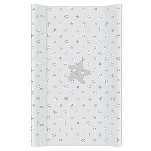 Ceba Baby Wickelauflage Wickelunterlage Wickeltischauflage 2 Keil Feste 80x50 cm Abwaschbar für Mädchen und Junge - Graue Sterne 80 x 50 cm