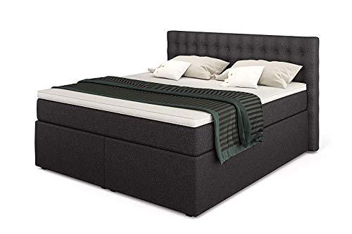 King Boxspringbett 160x200 mit 7-Zonen TFK Härtegrad H3 und Visco-Topper | Farbe Anthrazit | 140-200 x 200 cm verfügbar | Wahlweise mit Bettkasten