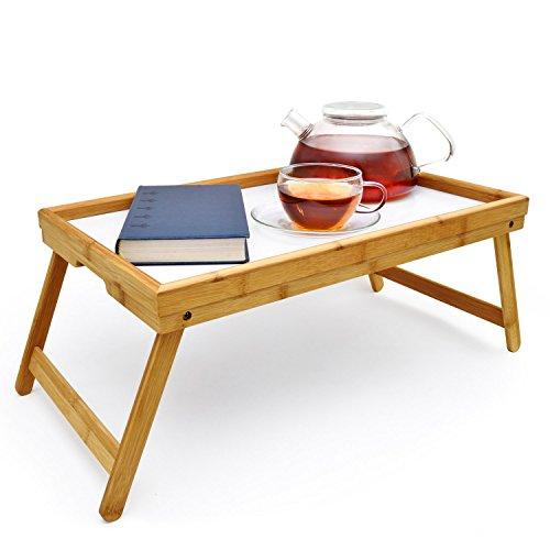 Frühstückstablett Bambus Bett-Tablett Serviertablett Betttisch mit klappbaren Beinen für Frühstück als Knietisch; abwaschbar; auch als Lapdesk und Notebook-Tisch verwendbar