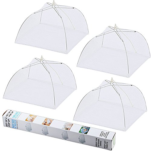 ipow Update Mesh-Material 4 Pack Fliegenhaube 43x43cm Großer Taschenschirm Lebensmittel Abdeckung Zelt vor Insekten schützen, Faltbar (Weiß)