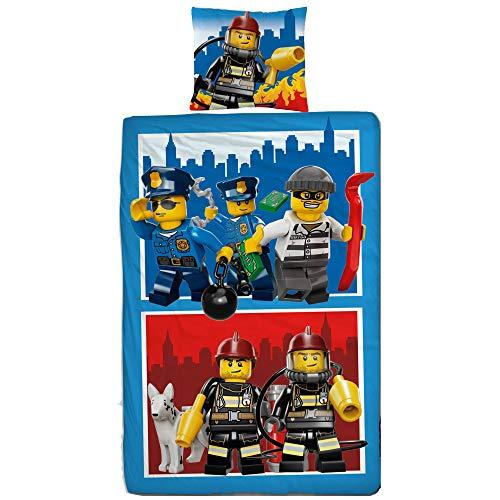 Lego CITY Figuren Set Kinder Jungen Bettwäsche · Kinderbettwäsche · POLIZEI & FEUERWEHR 2 teilig - Kissenbezug 80x80 + Bettbezug 135x200 cm - 100{17ea6fb49eb65bdf79bc7efa6dab19146dbbe298c57f4ac2774f3ddc7b0cfa68} Baumwolle - deutsche Größe