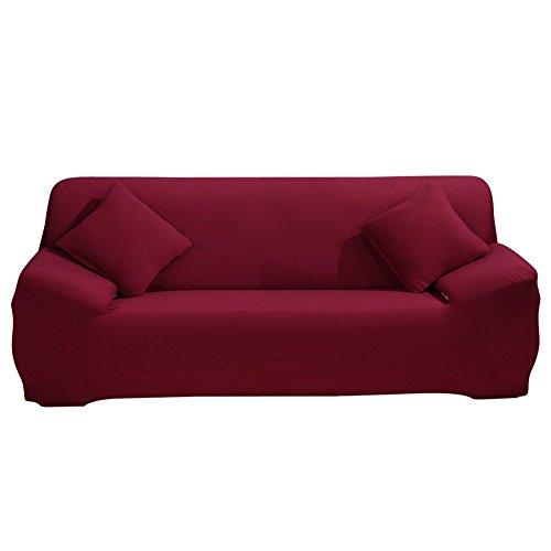 ele ELEOPTION Sofa Überwürfe Sofabezug Stretch elastische Sofahusse Sofa Abdeckung in Verschiedene Größe und Farbe Herstellergröße 195-230cm (Weinrot, 3 Sitzer für Sofalänge 170-220cm)