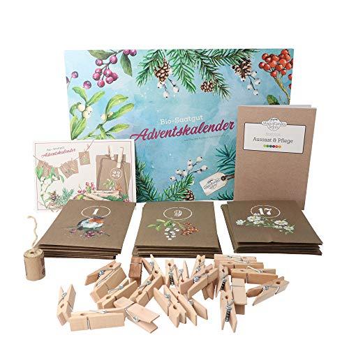 Bio-Saatgut-Adventskalender 2021 - Magische Zeit- Das Original von Magic Garden Seeds - Jubiläumsausgabe - befüllt mit 24 Bio-Samentütchen in schönem Design