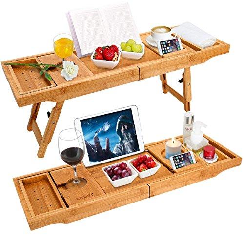 Unuber Badewanne Caddy & Laptop Bett Schreibtisch - 2 in 1 innovatives Design verwandelt unsere 100{7980669805fc6743f72c101998a49dd366353e3dde89c8bb501aaf9e65966bae} extra große Bambus Badewanne Tablett zu Bett Tablett - für das ultimative Verwöhnerlebnis
