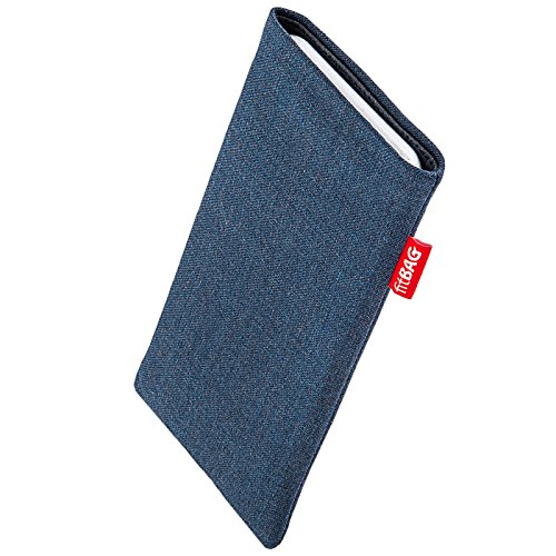 fitBAG Jive Blau Handytasche Tasche aus Textil-Stoff mit Microfaserinnenfutter für Apple iPhone 8 Plus | Hülle mit Reinigungsfunktion | Made in Germany