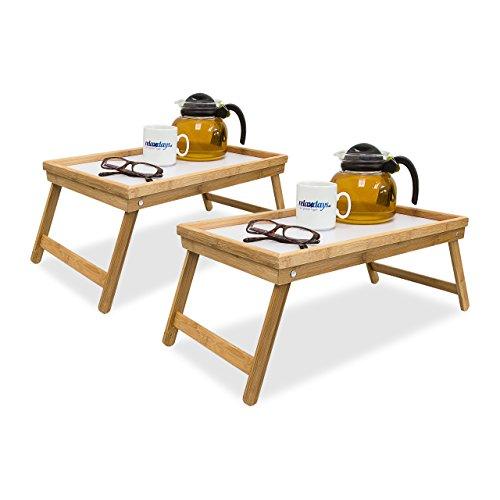 2x Betttablett Bambus, Tabletttisch mit Füßen, Sofatisch mit klappbaren Beinen, H x B x T: ca. 23,5 x 63 x 31 cm, weiß