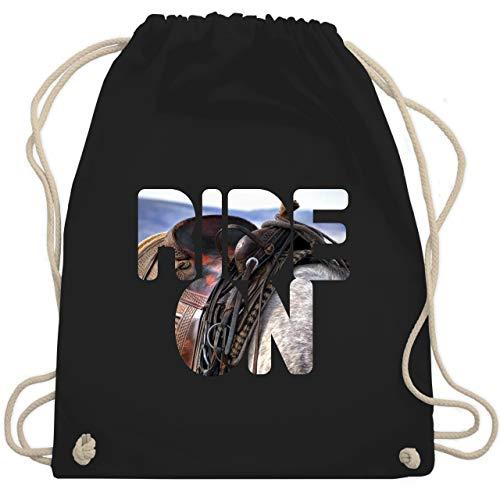 Shirtracer Sprüche Statement mit Spruch - Ride on Pferd reiten - Unisize - Schwarz - kinder reithelm - WM110 - Turnbeutel und Stoffbeutel aus Baumwolle