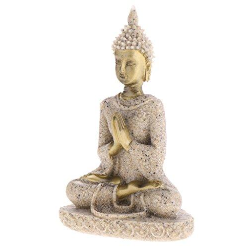 Sharplace Sandstein Sitzend Buddha Figur Fengshui Deko für Wohnung Garten Haus