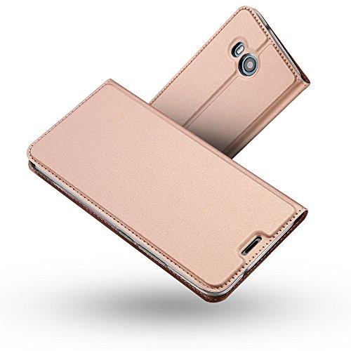 Radoo HTC U11 Hülle,HTC U11 Lederhülle, Premium PU Leder Handyhülle Brieftasche-Stil Magnetisch Klapphülle Etui Brieftasche Hülle Schutzhülle Tasche für HTC U11 (Rose Gold)