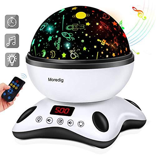Moredig - Sternenhimmel projektor lampe, musik nachtlicht lampe 360¡ã Grad Rotation + 12 beruhigende musik + 8 romantische licht, perfektes f¨¹r kinder, geburtstage, halloween usw - Schwarz und Wei?