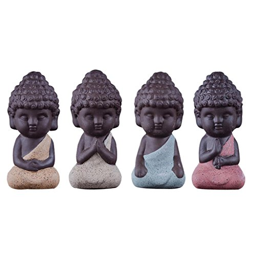 Sharplace 4 Stk. Lila Sand Mönch Buddha Figur Skulptur Statuen Set,