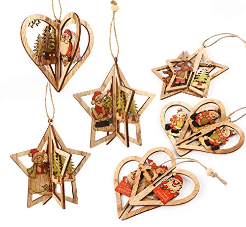 Cubewit 3D Weihnachtsbaum Deko holzdeko Weihnachtsbaumschmuck 6er. Christbaumschmuck Handgemachte Holz Anhänger Weihnachten Weihnachtsmann Weihnachtsbaum Schlitten Schneemann