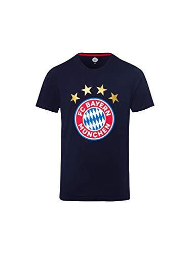 FC Bayern München T-Shirt Logo Navy/Fanshirt mit großem FCB-Emblem/XL