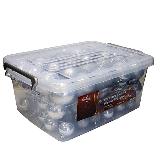 Wohaga® 70 Stück Weihnachtskugeln inkl. Transportbox Christbaumkugeln Baumschmuck Weihnachtsbaumschmuck Baumkugeln-Set, Farbe:Silber