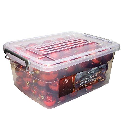 Wohaga® 70 Stück Weihnachtskugeln inkl. Transportbox Christbaumkugeln Baumschmuck Weihnachtsbaumschmuck Baumkugeln-Set, Farbe:Rot