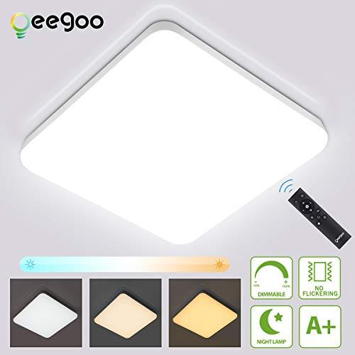 Oeegoo 36W LED Deckenleuchte dimmbar, 2520LM led Deckenlampe einstellbar Helligkeit(10% bis 100%) Lichtfarbe(3000K bis 6000K), led Wohnzimmerleuchte für Schlafzimmer Küche Büro Speicherfunktion