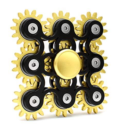 Edler Fidget Spinner 9 Zahnräder aus Metall lange Drehzeit bis 5 min + Metallbox Hand Toy Finger Spielzeug (schwarz)