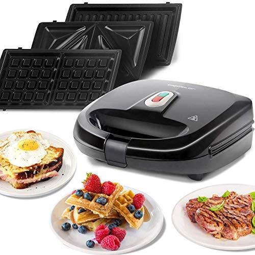 Sandwichmaker 3 in1, 750W Sandwichtoaster, 3 abnehmbare Grillplatten, Kontaktgrill, Waffeleisen 3 in1, spülmaschinengeeignete, Dreieckig SandwichMaker, Antihaftbeschichtet, Schwarz