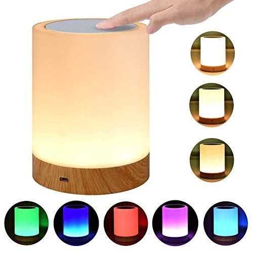 LED Nachttischlampe Akku Touch Sensor Tischlampe Kinder Nachtlicht aus Holz mit 256 RGB Farbwecksel, Warmweiß für Kinderzimmer-EINWEG