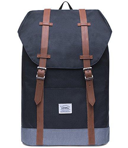 """KAUKKO Rucksack Damen Herren Vintage Laptop Reiserucksack Studenten für 14"""" Notebook Lässiger Daypacks Schultaschen für Wandern Reisen Camping"""