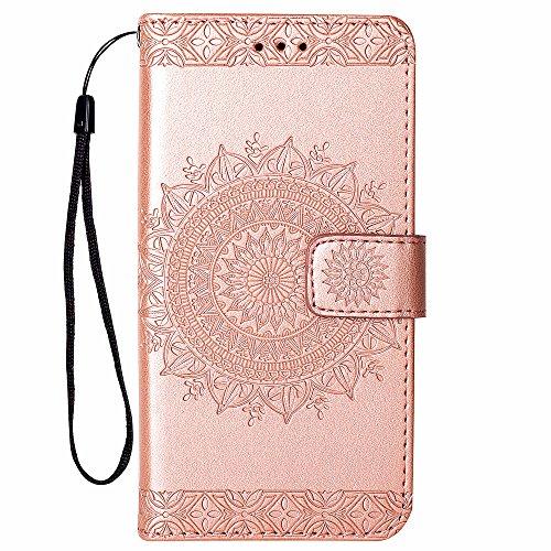 Hülle für Samsung Galaxy S5, Hancda Handyhülle Tasche Hülle Flip Case Leder Schutzhülle Ledertasche Cover Handytasche Lederhülle Brieftasche Geldbörse Magnet Case für Samsung Galaxy S5 - Rose Gold