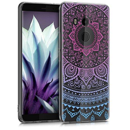 kwmobile Hülle kompatibel mit HTC U11+ / U11 Plus - Handyhülle - Handy Case Indische Sonne Blau Pink Transparent