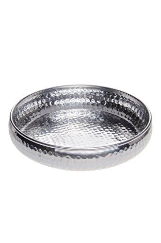 Orientalisches rundes Tablett Schale aus Metall Fidan 34cm groß Silber   Orient Dekoschale mit hoher Rand   Marokkanisches Serviertablett Rund   Orientalische Silberne Deko auf dem gedeckten Tisch
