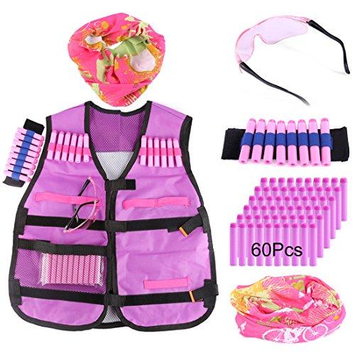 Kinder Taktische Weste, Foxom Foxom Kinder Taktische Weste Kits für Nerf mit 40er Darts Nachfüllpack, Schutzbrille Brille, Gesichtsmaske, Handgelenk Band (Type-5)