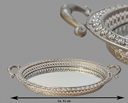 Riyashop XL Kerzentablett Tischspiegel Dekotablett Tablett Spiegeltablett Dekoration Shabby Silber Rund 45x38x7,5 cm