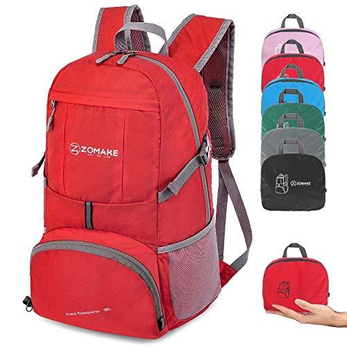 ZOMAKE 35L Ultraleicht Faltbarer Wanderrucksack, Multi-Funktionaler Stopfbarer Wasserdichter Casual Camping Tagesrucksack für Outdoor-Sport Klettern Bergsteiger (Rot)
