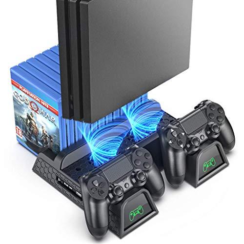OIVO PS4 Vertical Stand Kühlung Lüfter für Playstation 4/PS4 Pro/Slim, PS4 Vertikaler Standfuß Ständer mit PS4 Controller Ladesation und 12 Spiele Lagerung