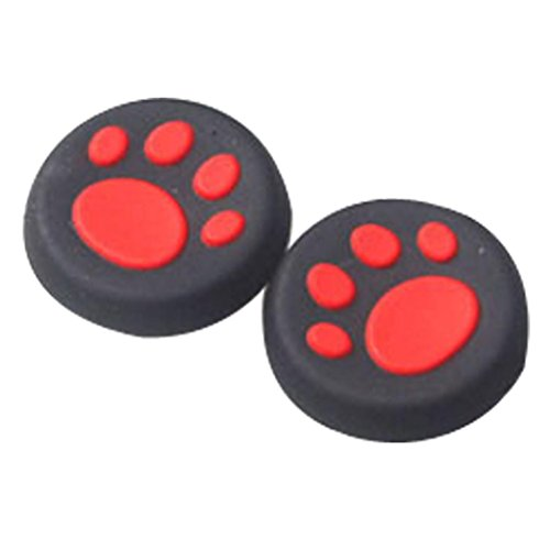 FeiliandaJJ 1 Paar Controller Cap Set Katzentatze Silikon des Controllers aufsätze Für PS 3/4 Xbox ONE (Rot)